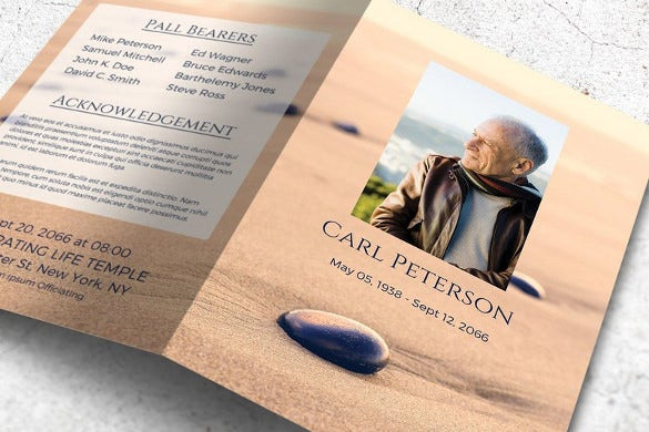 funeral progra sand stone memorial card template word funeral program