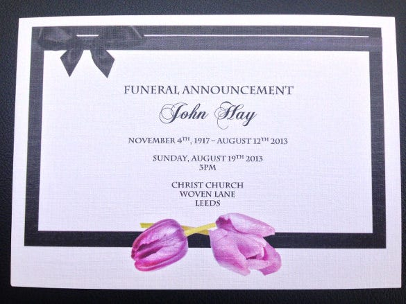 Personalised Funeral Announcement Invitation Cards  Funeral Announcements Template