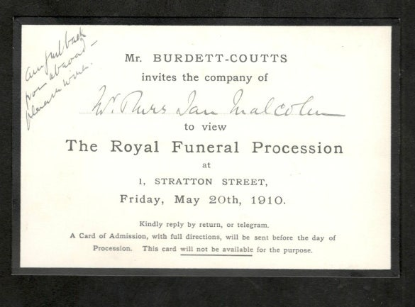 invitation to view funeral procession