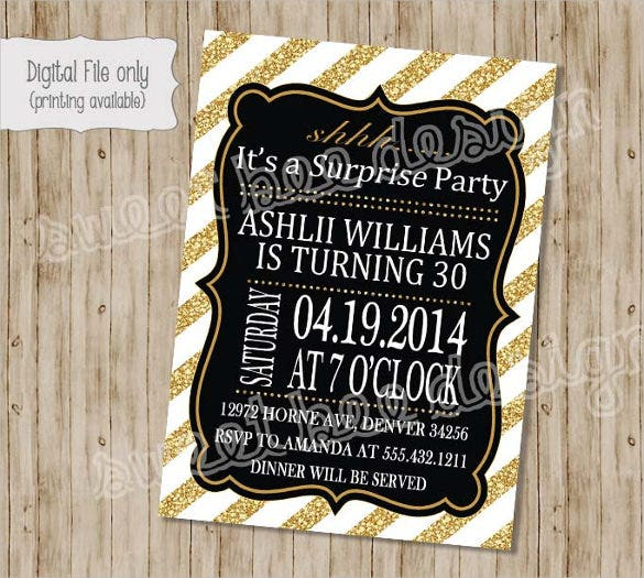 Surprise Birthday Invitation Templates Free Sample Example - Digital birthday invitation template