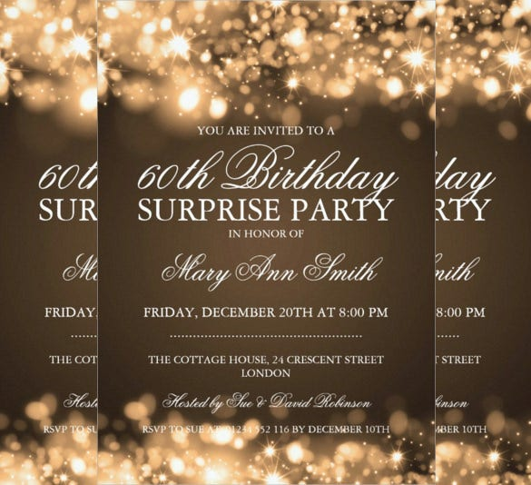 gold sparkling lights surprise birthday party invitation