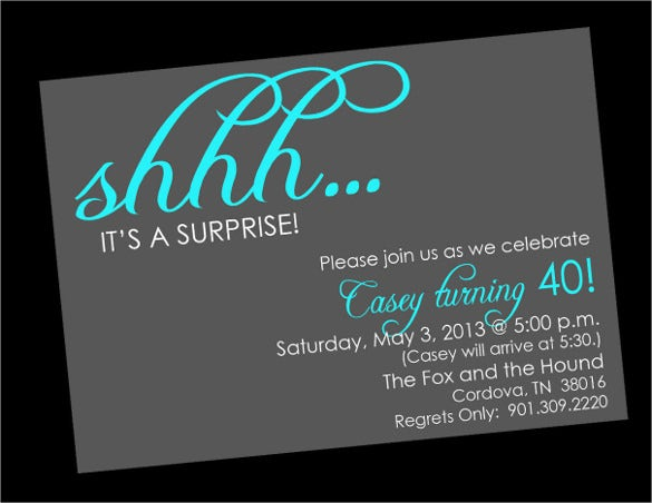 Surprise Birthday Invitation Templates Free Sample Example - Birthday invitation images download