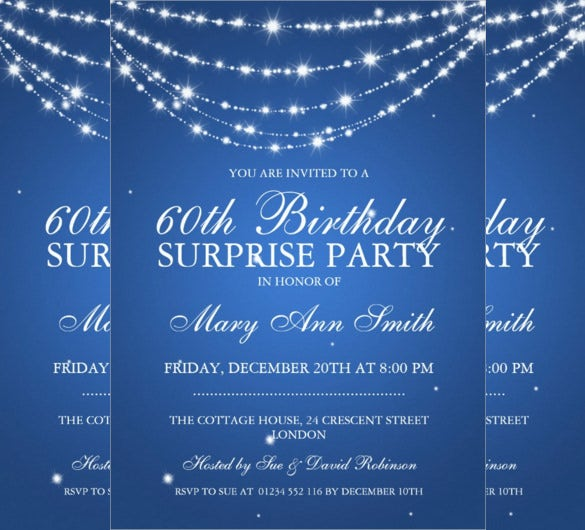 blue sparkiling chain surprise birthday invitation