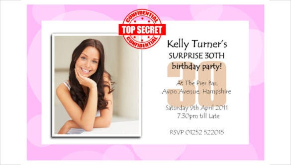 personalised surprise secret birthday party photo invitations1