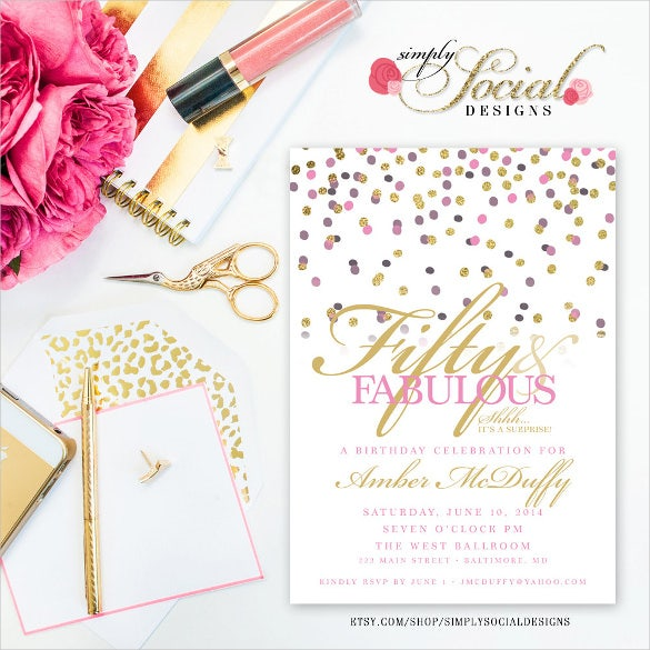 confetti glitter glam surprise birthday invitation