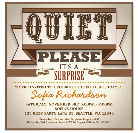 vintage typographic surprise birthday invitation template