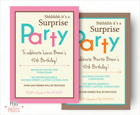 Pink And Blue Surprise Party Invitation For Women