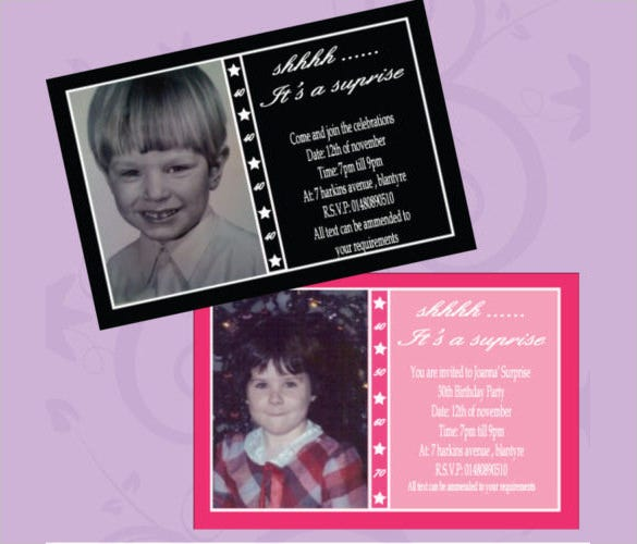 surprise party personalised birthday invitations any age any colour with photograph