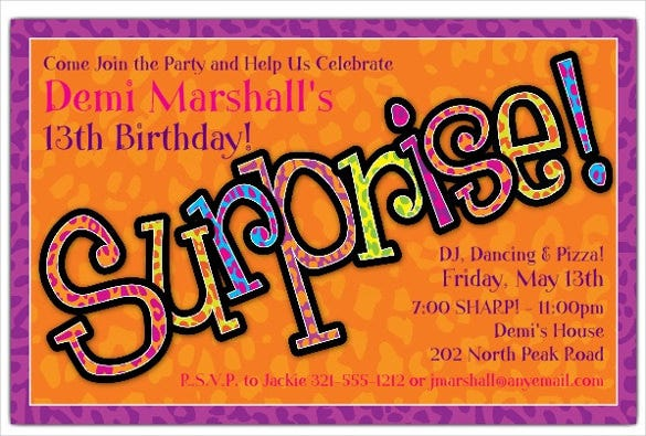 orange spotted surprise party invitation template