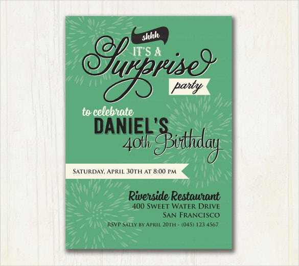 jade green surprise birthday invitation for male