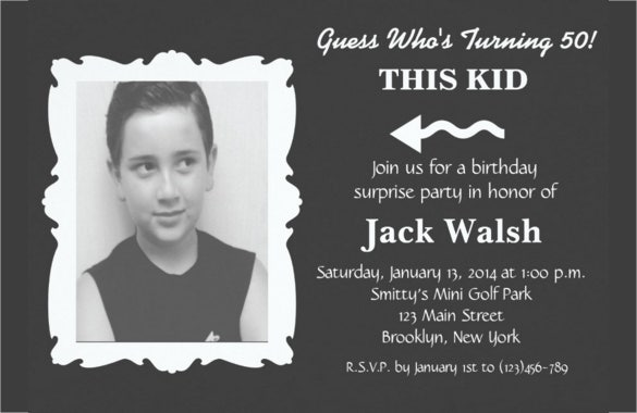 surprise birthday invitation with old photo