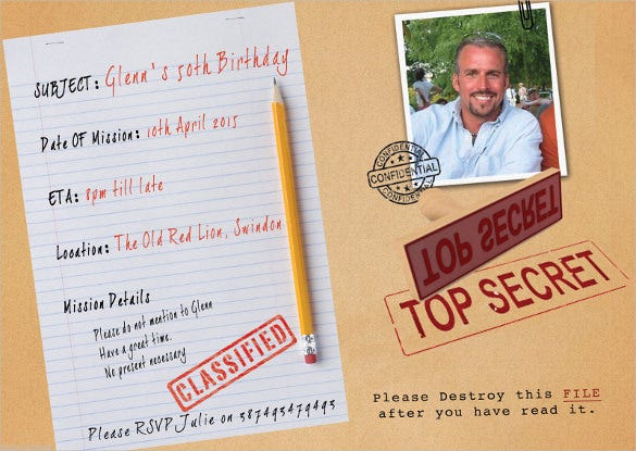 surprise top secret birthday party invitations with envelope