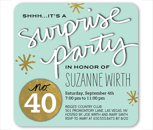 Surprise Birthday Invitation Templates Free Sample Example - 40th birthday invites templates