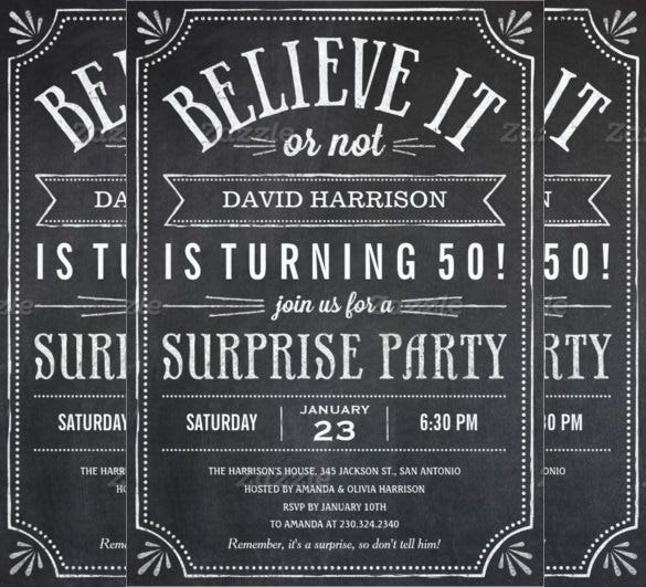 chalkboard style believe it or not surprise birthday invitation