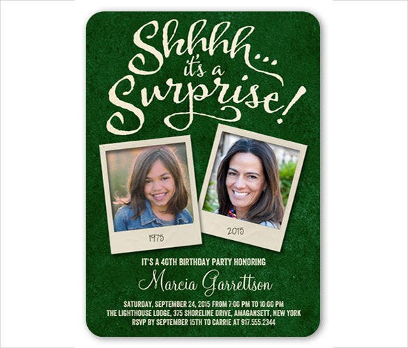 green and white surprise birthday invitation
