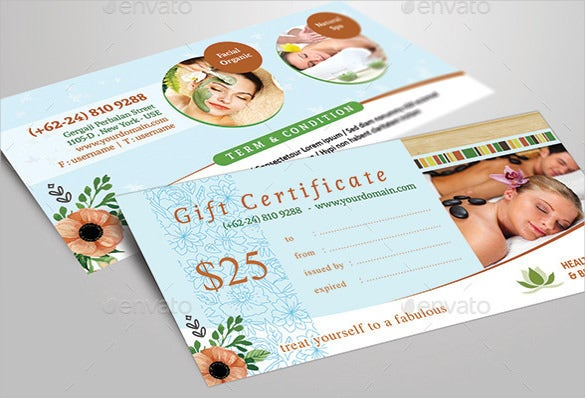 healty massage gift certificate psd template download