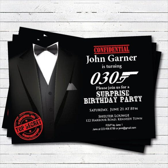 Black Tie Gala Surprise Birthday Invitation For Men