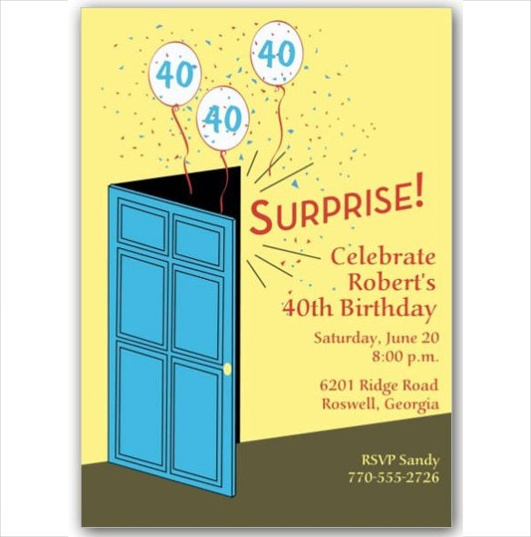 door theme surprise birthday invitation card