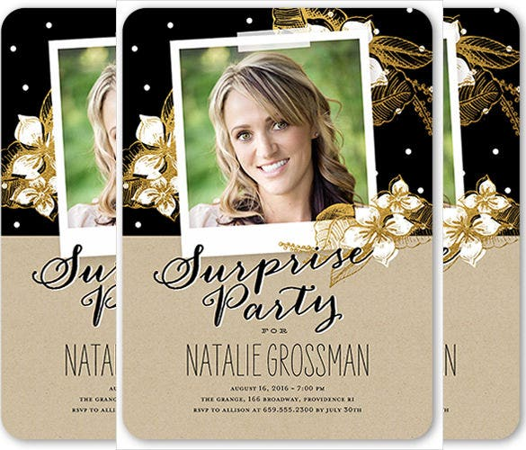 surprise party birthday invitation for women with custom photograph