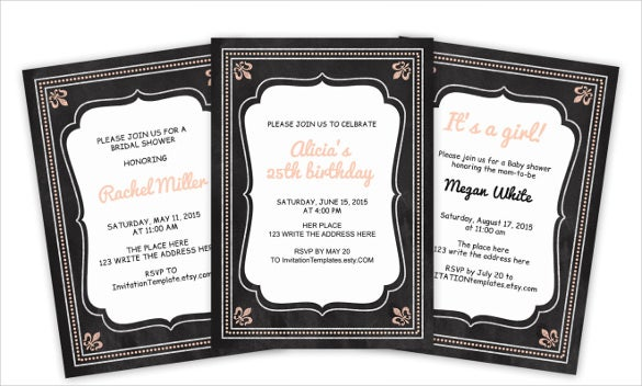 peach adult birthday chalkboard invitation template
