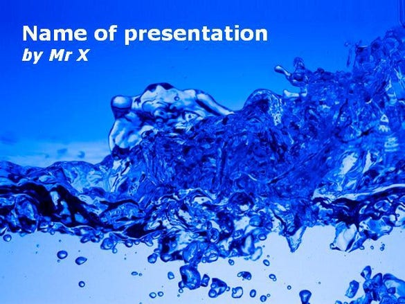 burst of water powerpoint template
