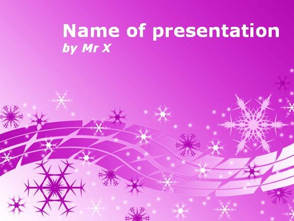 snow flakes over purple background powerpoint template