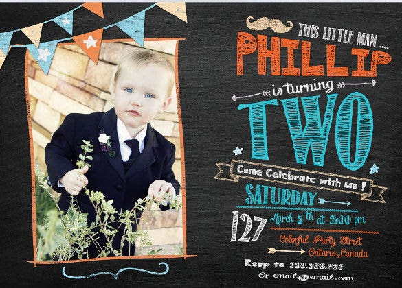 chalkboard invitation boy birthday invitation with photo