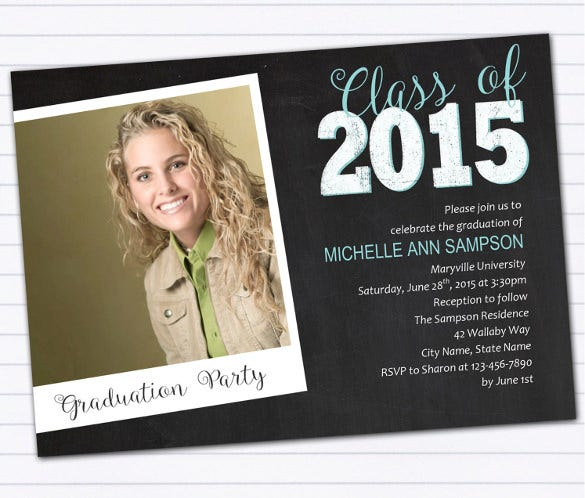 diy chalkboard style class of 2015 graduation announcement or party invitation