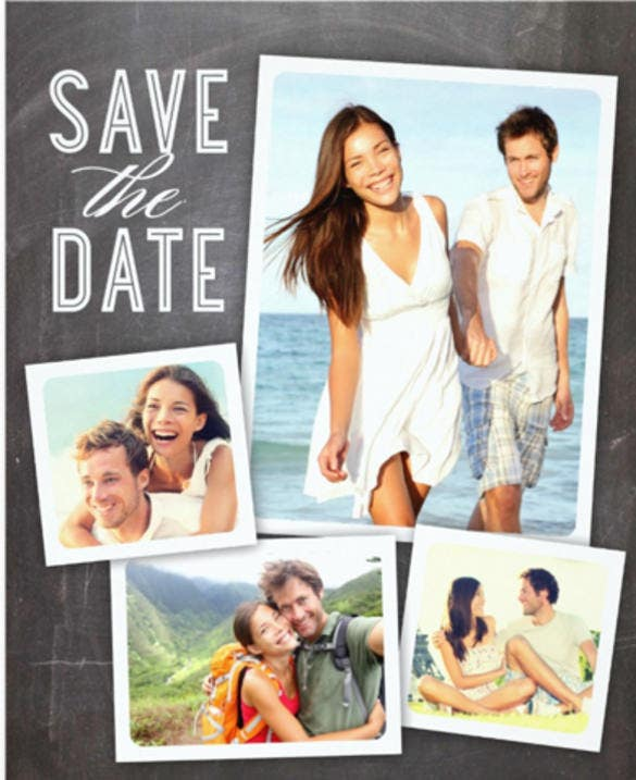 save the date modern collage chalkboard 5x7 paper invitation card