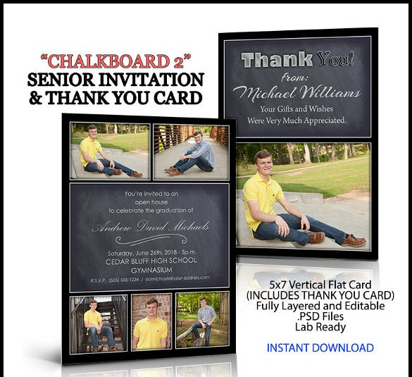 invitation and thank you card for senior graduation chalkboard 2 style