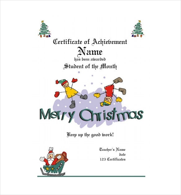 Wonderful PDF Format Christmas Gift Certificate Template Free Download