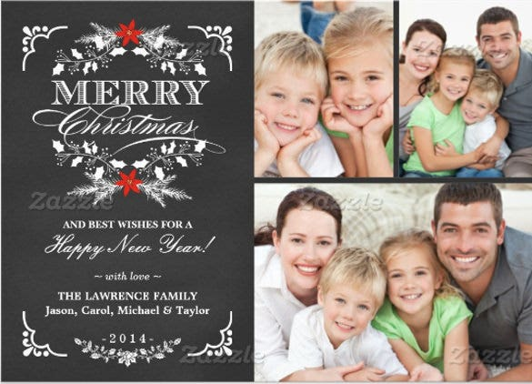 elegant holly chalkboard christmas 3 photo collage 5x7 paper invitation card