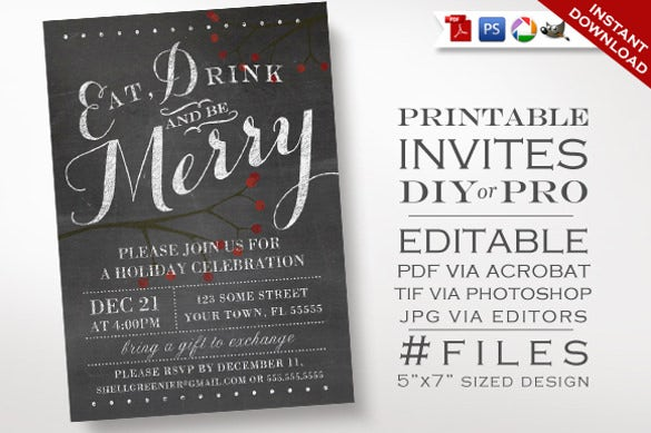 christmas invitation – chalkboard