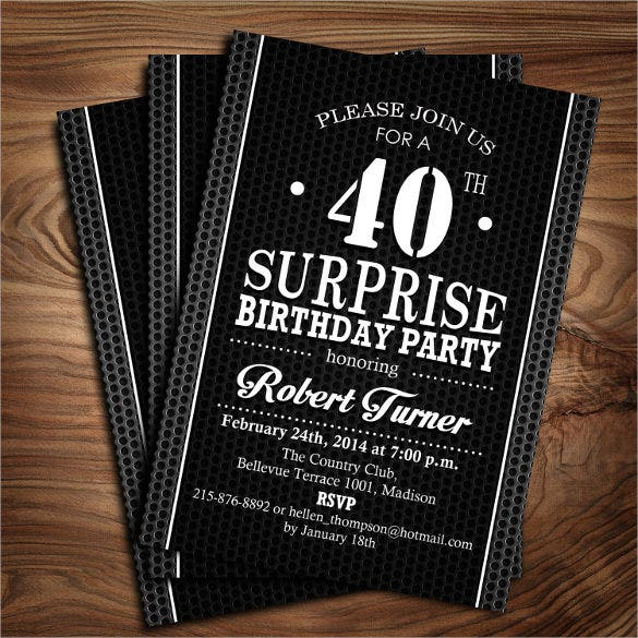 25 40th birthday invitation templates free sample example digital printable surprise 40th birthday invitation filmwisefo Choice Image