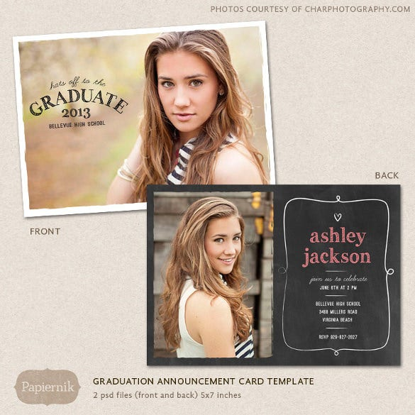 senior graduation announcement template for photographers psd flat card chalkboard frame