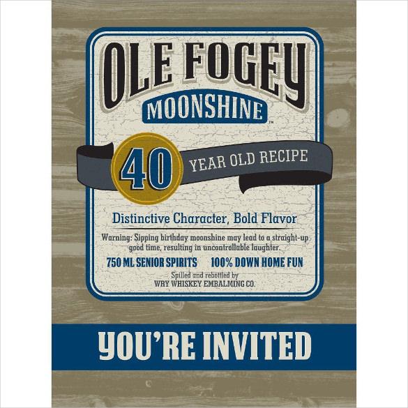 ole fogey moonshine 40th birthday invitation