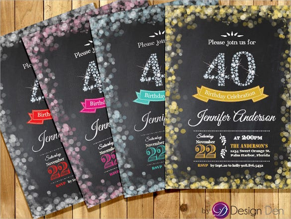 Diamond Colourful Adult 40th Birthday Invitation