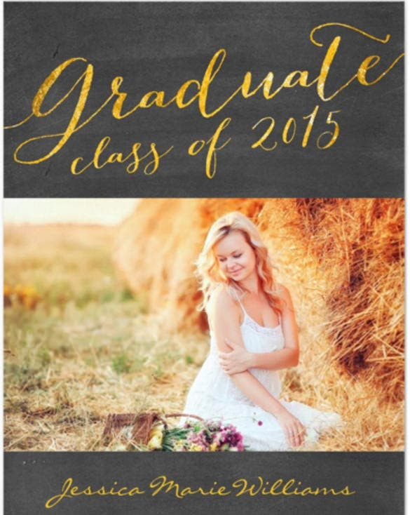 chalkboard graduation party gold foil 5x7 paper invitation card