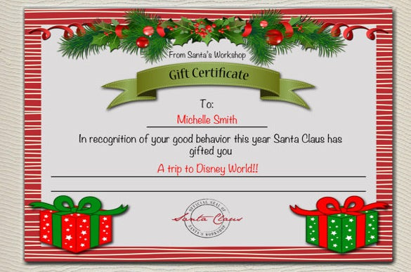 Christmas Gift Certificate Template 11 Word PDF Documents – Santa Gift Certificate Template
