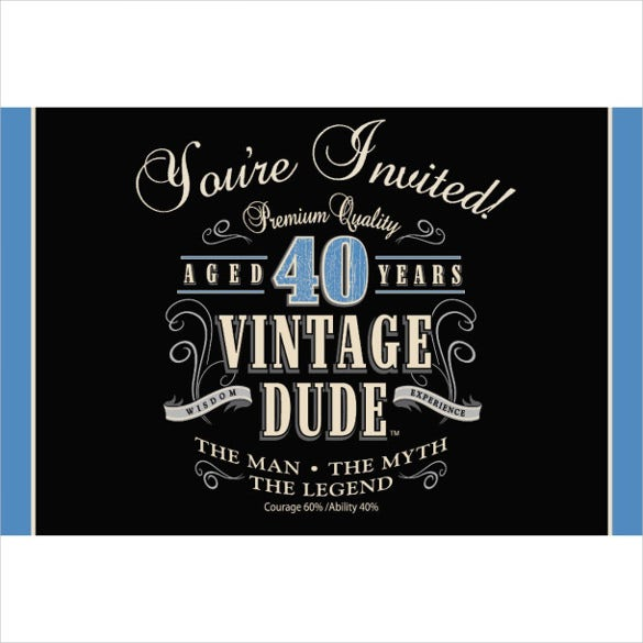 Creative Vintage 40th Birthday Party Invitations