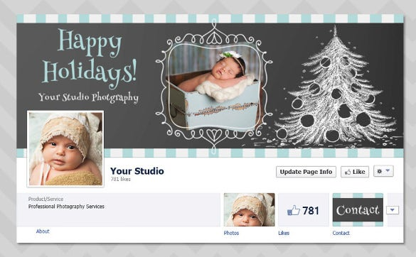 christmas facebook timeline template for photographers chalkboard tree