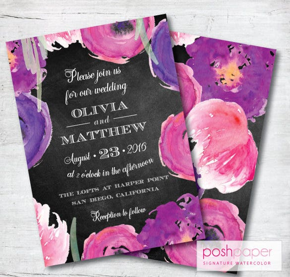 chalkboard wedding invitation purple wedding invitation wedding