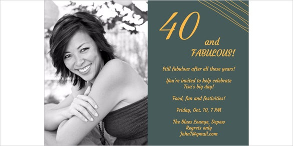 Printable 40th Birthday Invitation Template with Custom Photograph