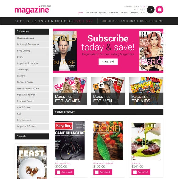 news portal magazine zencart html5 template