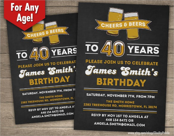 Cheers And Beers 40th Birthday Invitation For Male