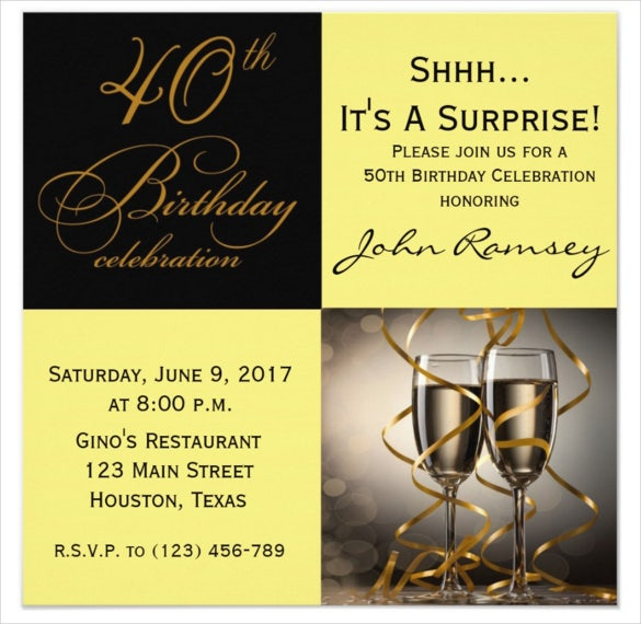 Gold And Wine Surprise 40th Birthday Party Invitations