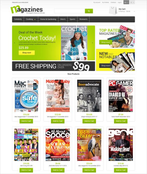 glossy magazines magento html5 theme