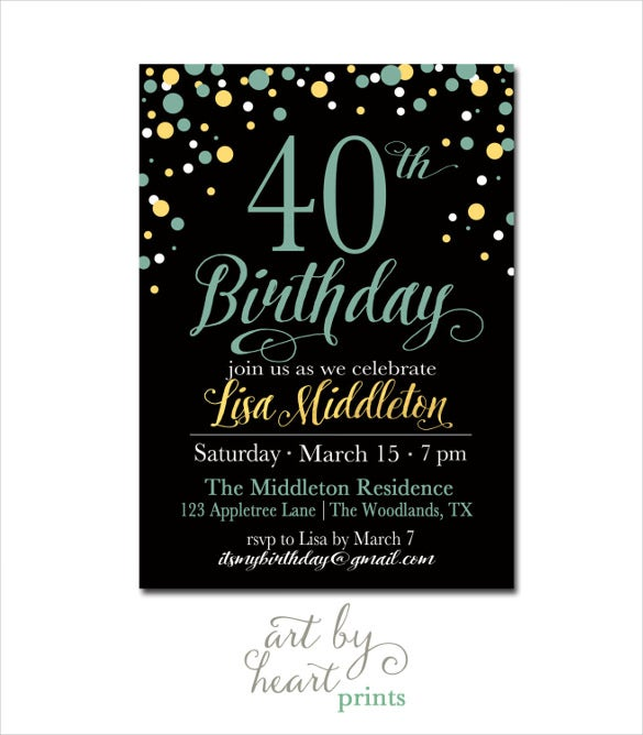 Navy Black 40th Birthday Invitation For Girl