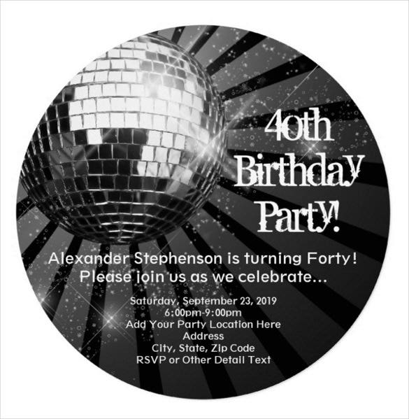 25 40th birthday invitation templates free sample example black circle round disco ball 40th birthday party invitation stopboris Gallery