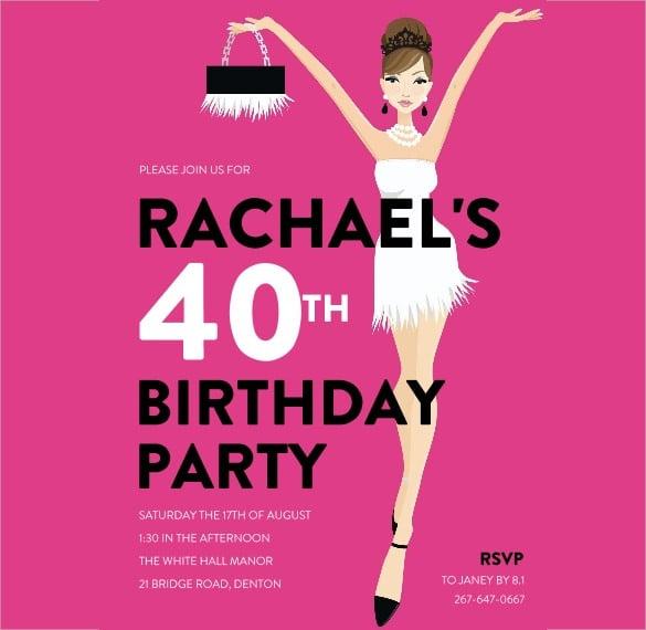pink 40th birthday invitation for women